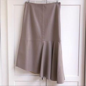 NEW ZARA Asymmmetrical Faux Leather Midi Skirt